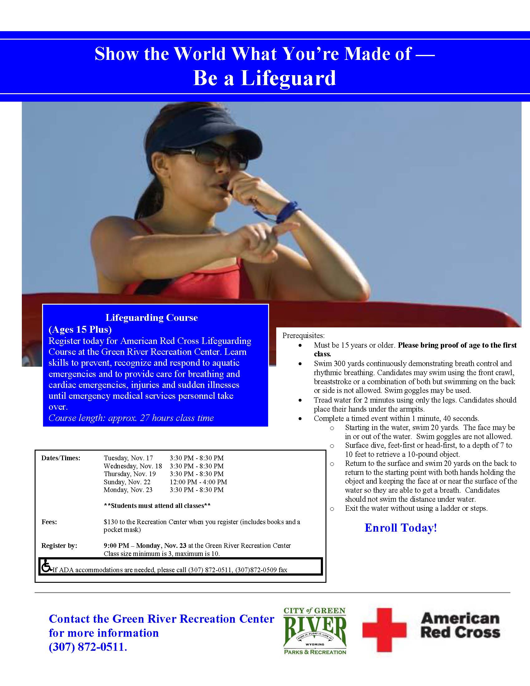 Lifeguarding Course flier 11.2020