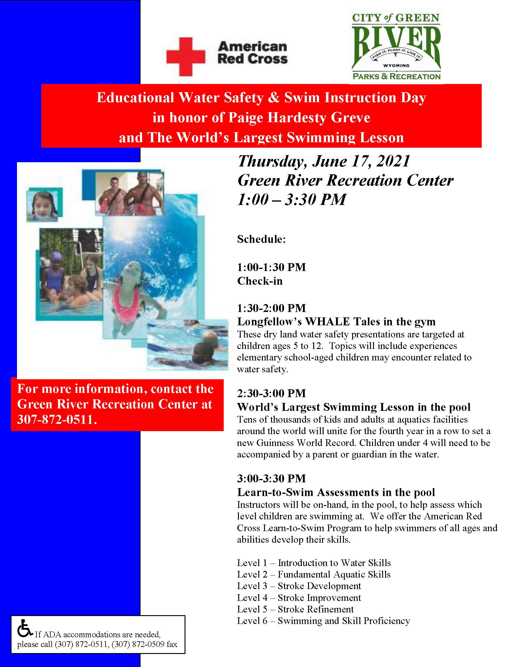 Water Safety Day.Largest Swim Lesson flier 6.17.2021